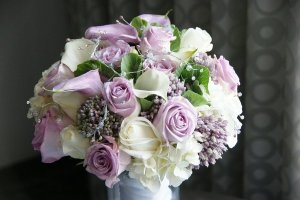 Vintage Green Purple White Bouquet Wedding Flowers Photos ...