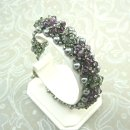 Crystal and Pearl Beadwoven Bracelet in Amethyst Purple and Black Diamond