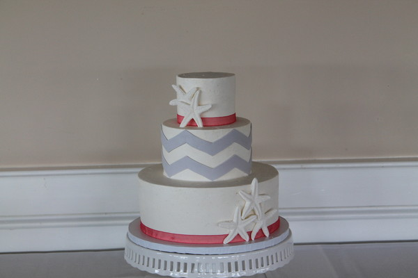 1453053206600 Coral Gray Chevron Lewes wedding cake