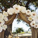 Fabric flowers and burlap are perfect for a creative and rustic wedding.