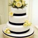 130x130 sq 1319897552995 weddingcakeblackribbonsroses