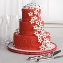 130x130 sq 1319897574242 weddingcakeredwithwhiteflowers
