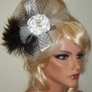Black and white feather bridal fascinator