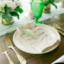 Chic, rustic emerald and mint green place setting.