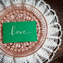 Charming emerald note card.