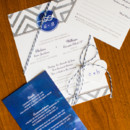 Blue and grey wedding stationery suite.