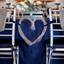 Blue and grey winter wedding reception decor.
