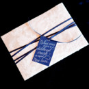Dark blue and metallic wedding invitation.