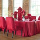 Monochromatic red reception decor.