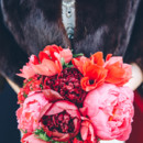 Ruby red and pink peony bridal bouquet.