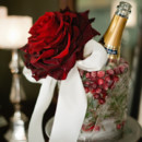 Giant red rose and cranberry ice bucket.