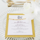 Golden yellow menu card.