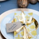 Golden yellow patterned cloth napkins.