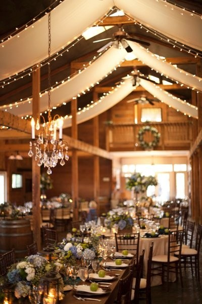 barn draping lights wedding reception