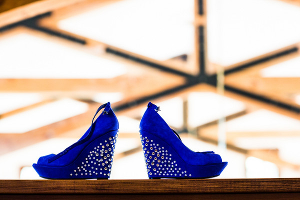 Sapphire Blue Studded Wedge Bridal Shoes