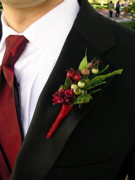 Black Brown Burgundy Green Red Boutonniere Fall Winter ...