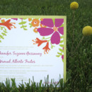 Bloom Clutch Wedding Invitation: The gorgeous blooms of this modern pocket wedding invitation are bright and radiant! The pocket is on the reverse! Completely customizable with your very own paper, inks and fonts. Choose bright, bold inks for a summer wedding or warmer hues for an early fall nuptial.