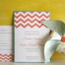 Chevron Clutch Wedding Invitation: Our Chevron Invitation design uses striking zigzag stripes and bright colors to create a look that's modern and fun. Now available as an exclusive TGK Clutch (the pocket is on the back!), this hip wedding invitation will make you look stylish and organized! Paper, fonts and inks are all customizable.