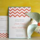 130x130 sq 1372787591466 chevron pocket wedding invitation coral and aqua
