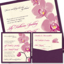 Orchid Clutch Wedding Invitation: Luscious petals create a feeling of the tropics on our gorgeous tropical Orchid pocket invite (pocket is on the back). Customize your flower color, inks, fonts and papers!
