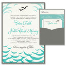 Ocean Clutch Wedding Invitation: The Ocean Clutch Wedding Invitation is alive with overlapping crescent shapes, reminiscent of sea and sky, with two sweet little gulls to top it all off! Whether you're going for a bold, tropical look or a more subtle, bayside feel, you can customize this pocket invitation (pocket on the back!) by choosing your own paper, fonts and inks.