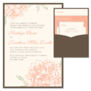Peony Clutch Wedding Invitation: Your guests will fall head over heels for our soft and romantic Peony Wedding Invitation pocket (pocket on the back)! Customize this elegant floral invite invite by choosing your favorite paper, fonts and inks.