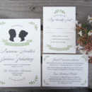 "The Silhouette Wedding Invite is a sweet, vintage design. Add profile shots of you and your ""one & only"" and we'll create custom silhouettes for that extra special personal touch! Make it your even more ""you"" by selecting the paper color, fonts and ink colors."