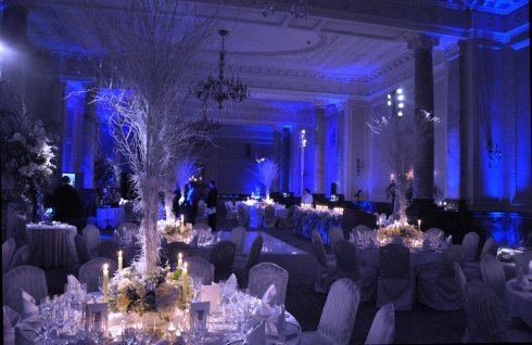 Ice Blue Uplighting And Pin Spots On The Centerpieces Are Great To Create A Winter Wedding
