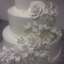 130x130 sq 1415885297041 white wedding cake with white roses