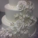 130x130 sq 1415885297041 white wedding cake with white roses