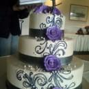 130x130 sq 1418398793988 black ribbon and purple flowers