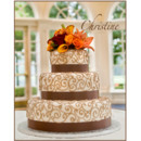130x130 sq 1418398918001 brown ribbon with brown scrollwork