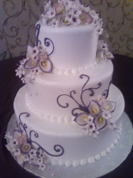 wedding cake with purple calla lilies christine s cakes and pastries shelby township mi 26945