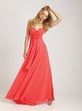 Style No. 1265 - available in 50+ colors  <br /> This long, strapless chiffon gown features a sweetheart neckline and an asymmetrically ruched bodice. The bodice is accented with a flower detail at the center. The flowy skirt completes this look.