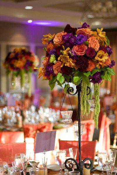 Modern Green Orange Purple Centerpiece Centerpieces Fall Indoor Reception Place Settings Spring