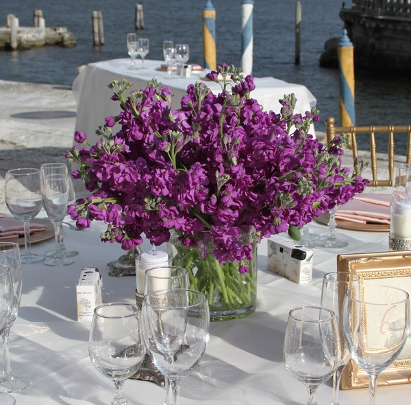 Purple centerpiece delphinium wedding flowers photos