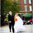 I was just running ahead of the newly married couple in downtown Old Market of Omaha, Nebraska.