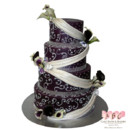 130x130 sq 1414698286315 4 tier dark purple calalily cake