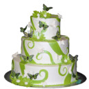 130x130 sq 1414698442566 3 tier green butterfly cake