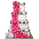 130x130 sq 1415145491077 4 tier white with black acent pink flowers