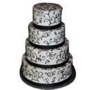 130x130 sq 1415145577841 4 tier black white cake with ribbon