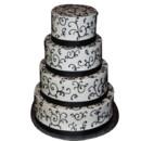 130x130 sq 1415145577841 4 tier black white cake with ribbon
