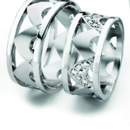 "From Furrer-Jacot's ""Margiques"" Collection, these bands are set with diamonds by hand, piece by piece."