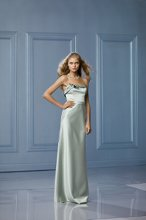 464 Color Shown: Pistachio/Pistachio Strapless neckline with origami folded detail Self belt at waist (available in a different color) Floor length, bias cut, a-line skirt