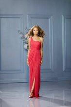 434 Color Shown: Watermelon One-shoulder, shirred bodice Draped, front slit, floor length skirt