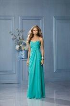 491 Color Shown: Mermaid Strapless, sweetheart neckline Criss-cross shirred bodice Side-draped, floor length, slim, a-line skirt
