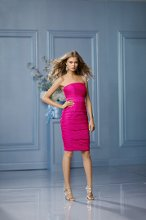 490 Color Shown: Raspberry/Raspberry Strapless Band at waist Ruched dress Above-the-knee length pencil skirt