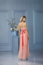 482 Color Shown: Coral/Tomato Spaghetti strap, scoop neck Back vent opening Single-faced satin ribbon at waist High-low skirt