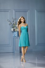 484 Color Shown: Aqua Strapless, sweetheart, twist- front neckline Soft, pleated, above-the-knee length, full skirt
