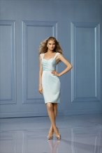 469 Color Shown: Seamist/Seamist Wide crystal chiffon straps Sweetheart neckline Pleated bodice Slim, pencil skirt Slit in back